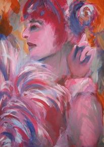 Frau, Rote haare, Feder, Malerei