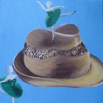 Hut, Tänzerinnen, Blau, Grün und ocker