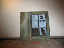 Fenster, Grüne wand, Kaputtes glas, Malerei