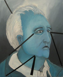 Blockade, Gesicht, Alter mann, Malerei
