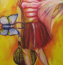 Frau, Schmetterling, Tasche, Tuch
