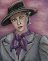 Frau, Lila, Hut, Malerei