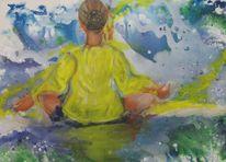 Wasser, Meditation, Strahlen, Frau