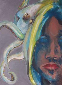 Gesicht, Tintenfisch, Malerei