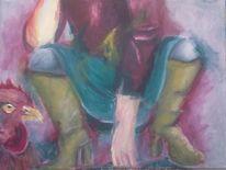 Stiefel, Frau, Huhn, Malerei