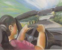 Frau, Auto, Landschaft, Malerei