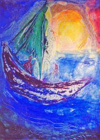 Meer, Blau, Boot, Himmel wasser luft
