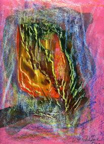 Pink, Blumen, Malerei, Abstrakt