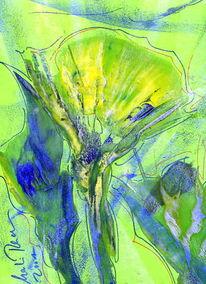 Blumen, Tief, Seagreen, Malerei