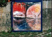 Frühwerk, Rahmen, Stadtsilouette, Malerei