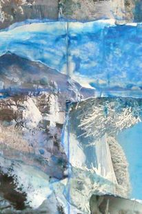 Winter, Auf papier, Landschaft, Collage