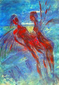 Rot blau, Garten, Figur, Beziehung