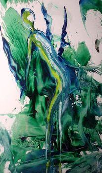 Fluss, Frau, Malerei, Abstrakt