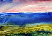Strand, Nordsee, Blauer himmel, Flut