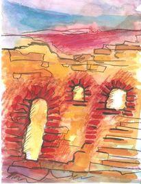 Colourierte tuschetzeichnung, Stein, Ruine, Öffnung