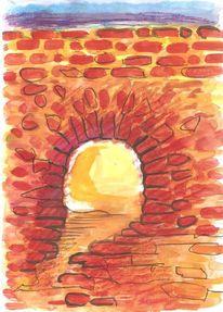 Colourierte tuschetzeichnung, Öffnung, Ruine, Stimmung
