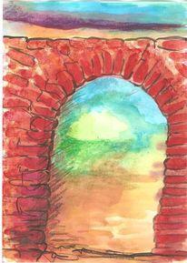 Öffnung, Stimmung, Stein, Colourierte tuschetzeichnung