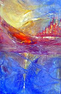 Malerei, Abstrakt, Schiff, See