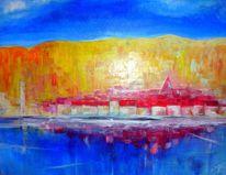Stadt, Fluss, Malerei