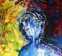 Ausschnitt, Clown, Malerei, Abstrakt