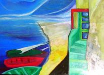 Hafen, Treppe, Malerei, Abstrakt