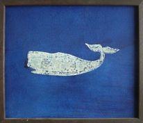 Malerei, Wal, Blau
