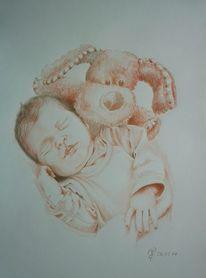Portrait, Baby, Buntstiftzeichnung, Skizze