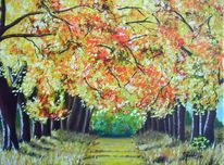 Allee, Herbst, Malerei