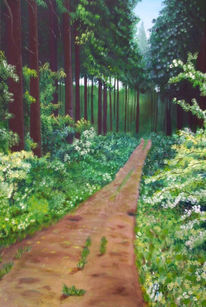 Weg, Wald, Malerei, Waldweg