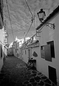 Schwarz weiß, Analoge fotografie, Cadaques, Gasse