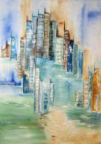 Haus, Blau, Wasser, Stadt