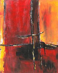 Brücke, Schnee, Rot, Malerei