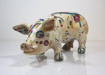 Schwein, Auktion, Acrylmalerei, Skulptur