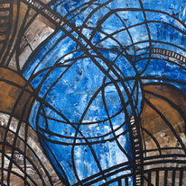Malerei, Kirche, Abstrakt, Blau