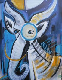 Widder, Phantasietiere, Blau, Zebra