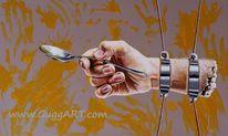 Realismus, Hand, Löffel, Seil besteck