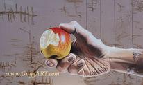 Haut, Finger, Schnur, Acrylmalerei