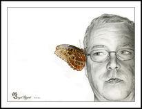 Buntstiftzeichnung, Schmetterling, Bleistiftzeichnung, Zeichnung
