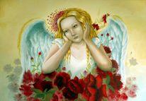 Engel, Blumen, Mädchen, Malerei