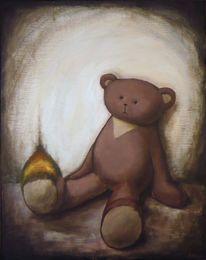 Teddy, Flammen, Traurig, Malerei