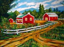 Landschaft, Farmhaus, Amerika, Malerei