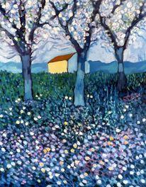Drei bäume, Malerei,