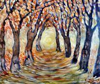 Sonne, Allee, Herbst, Malerei