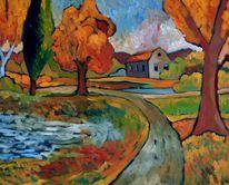 Oktober, Park, Herbst, Malerei