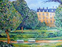 Parc monceau, Paris, Oil on canvas, Malerei
