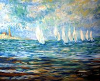 Normandie sailing, Regatta, Oil on canvas, Manch