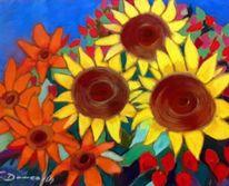 Pastellmalerei, Velourpapier, Sonnenblumen, Malerei