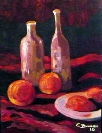 Stillleben, Still live, Orange, Oil on canvas