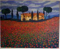 Toskana, Mohnblumen, Sommer, Malerei