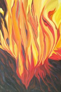 Gestein, Ölmalerei, Flammen, Gelb
